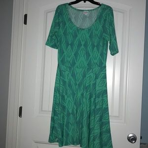Green patterned Lularoe Nicole dress